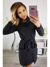 Ladies Women Heaps Turtle Neck Long Sleeve Big Pocket Casual Winter  Mini Dress