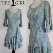 DOLLYBIRD 1960S VINTAGE BLUE METALLIC PAISLEY PRINT BEADED MOD COCKTAIL DRESS 14