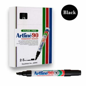 1 Carton (48) Boxes Artline 90 BLACK Permanent Markers Chisel Nib