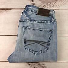 Express Men's 29 X 30 Rocco Slim Fit Low Rise Boot Cut Light Blue Denim Jeans