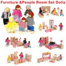 Dolls House Furniture Wooden Set Miniature 6 Room People Doll Toys Kids Children