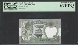 Nepal 2 Rupees ND(1979-2001) P29b Uncirculated Grade 67