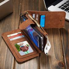 Multifunction Zipper Flip Leather Wallet Card Purse Mix Detachable Magnetic Case