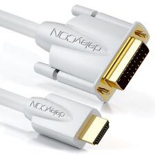 deleyCON 1m HDMI auf DVI Kabel 24+1 1080p FULL HD 1920x1080 TV Beamer PC Weiß