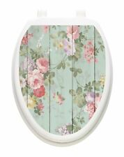 Toilet Tattoos Shiplap Floral Vinyl Removable Decor for Your Lid