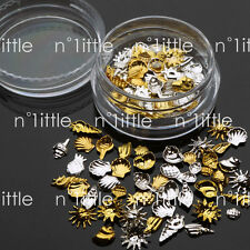 100 pcs 3D Nail Art Gold & Silver Seashell Ocean Decoration + Wheel #NU-154
