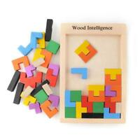 Wooden Tangram Brain Teaser Puzzle Educational Kids Toy Baby Tetris Toys Game
