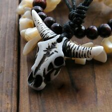 Vintage retro goth style aries / stag / bull head skull aries zodiac necklace