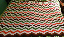Handmade Handcrafted Crochet  Afghan Throw Blanket Bedspread Chevron Size 58x63