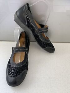 Sz 10 Sz 41 PADDERS Black Leather & Suede Mary Jane Flat Comfort Shoes