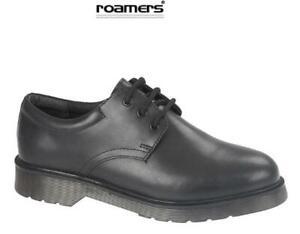 Boys School Shoes Leather Lace-up Black Smart Tough Roamers Size 1 - 6 UK