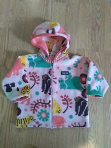 Patagonia 12 Months Baby Pink Fleece Hooded Jacket Jungle Animals