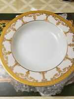 Palate & Plate Fine Porcelain Gold Aqua Scroll (Qty. 4) Soup Plates 8.5""