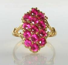 DIVINE 9K GOLD 9CT GOLD ALL INDIAN RUBY ART DECO INS LONG RING FREE RESIZE