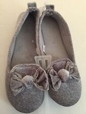 MIXIT OUTDOOR SOLE LOW-CUT SLIPPERS GRAY VELOUR BOW SIZE X-LARGE 11/12 NWT $27