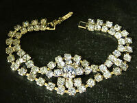 Vintage Silver Tn Prong Set Blue Rhinestone Ornate Open Work Bracelet Rhodium Pl