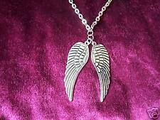 Antiguo Plata Doble Guardian Angel Wing Collar 5 Cm