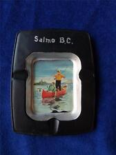 VINTAGE METAL ASHTRAY FISHING SALMO BRITISH COLUMBIA BC CANADA RUSTIC HAVEN
