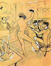 Dancing in Irlandese American Bar TOULOUSE LAUTREC tela o fine art print poster