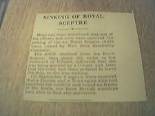 newspaper item ww2 sinking of the royal sceptre hall bros steamship co
