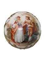 Antique Porcelain Parasol or Cane Handle Knob Hand Painted Man Courting Woman