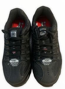 Skechers For Casual Steel Toe Work Sneaker, Black/Charcoal, 10 M US