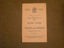 SUTTON UNITED  V  WALTON AND HERSHAM  (SCSC FINAL TIE) 2-5-70  @ DULWICH 4 PAGER