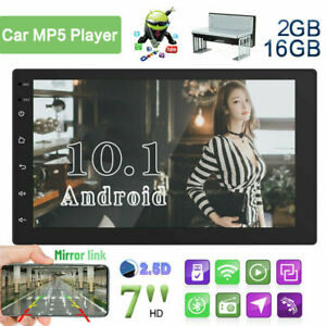 Single 1 Din Car Stereo Android 10.1 Touch Screen FM USB GPS Radio MP5 Player