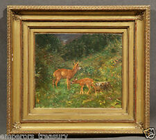 """Deer in Woods"" Oil Painting Attributed to Arthur Tait (BRITISH, 1819-1905)"