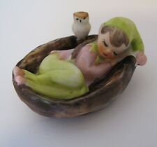 ANIQUE VINTAGE BISQUE ELF in BASKET w OWL FIGURINE PIXIE GNOME UNUSUAL