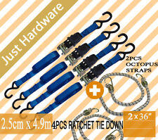 4 PC 4.9M STRAP 25mm RATCHET TIE DOWN 700kg HIGH QUALITY with 2 PCS OCTOPUS 36 ""