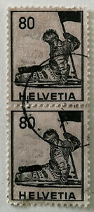 Helvetia Dying soldier, Battle of Marignano (1515) tinted granite paper 80 Stamp