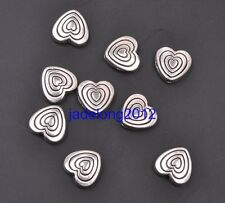 25pcs Tibetan Silver Heart Double Sided Charms Spacer Beads 8x9mm C3089