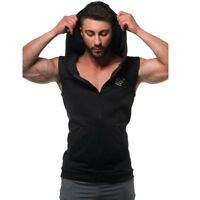 Men'S Casual Fit Sleeveless Hoodie Gym Workout Bodybuilding Curved Hoodies Vests