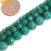"Natural Gemstone Green Russian Amazonite Faceted Round Loose Beads Strand 15"" UK"