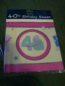 ME TO YOU  Tatty Teddy 40th birthday Banner in pink and yellow