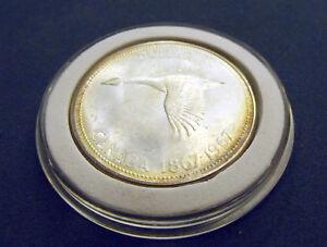 Golden Nearly Rainbow Toned Brilliant Gem 1967 Canada 800 Silver Dollar w HOLDER