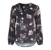Jane Norman Silk Top Womens Ladies Black Floral AOP LS VNeck UK Size 8 *REF36