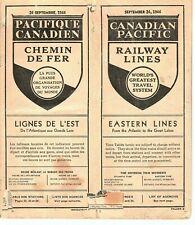 (P3262) 1944 RAILWAY PASSENGER SCHEDULE CANADIAN PACIFIC RR
