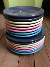Vintage Boontonware Plates, Saucers Belle Line, Pink Turquoise