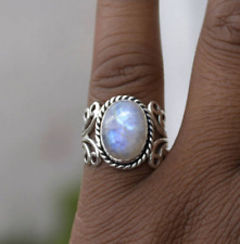 Vintage Oval Promise Engagement Moonstone Fire Opal Natural Silver Ring