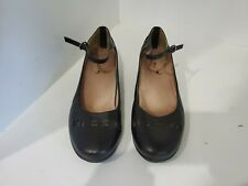 Abeo Womens Black Leather Ankle Strap Shoes Size 9 N