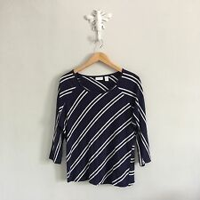 Chicos Blue White Striped Knit Top 3/4 Sleeve T-Shirt Sz 1 Linen Blend A72