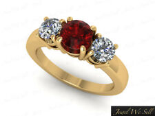 Genuine 1ct Round Ruby Diamond 3Stone Engagement Ring 10K Yellow Gold AA I SI2