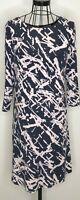 Ladies PHASE EIGHT Navy and Cream Patterned 3/4 Sleeves Shift Dress UK 14