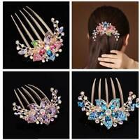 Vintage Glitter Rhinestone Inlaid Flower Hair Comb Hairpin Headwear Accessory