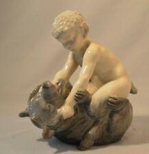 Vintage Royal Copenhagen Danish Porcelain Figurine - Faun w Bear #648 Pan/Satyr