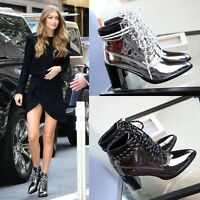 S51 woman ankle boots shoes high heel  toe vintage designer inspired