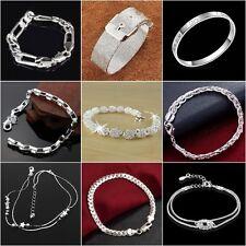 Women Fashion Lots Style 925 Silver Bangle Punk Cuff Bracelet Bridal Jewelry