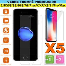 Vitre verre trempe film de protection d'écran iPhone SE/6S/7/8/X/XR/11/Pro Max